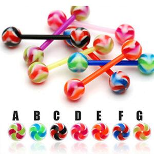 Zungen-Piercing-UV-Barbell-Flexibel-Spiralen-Muster-Kugeln-viele-Farben
