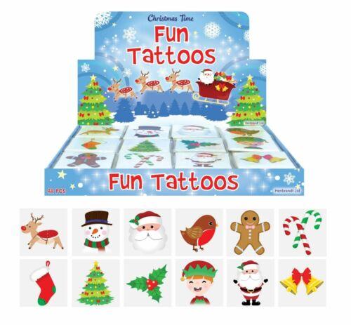 12 X Noël tatouages temporaires Santa//RENNES//Elf//Stocking fête sac Filler