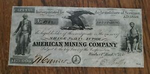 1850-American-Mining-Company-Vermont-VT-Stock-Certificate