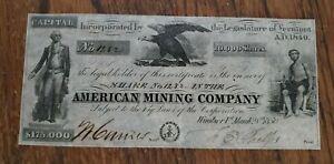 307-1850-American-Mining-Company-Vermont-VT-Stock-Certificate