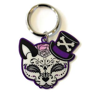 Miss-Cherry-Martini-Top-Hat-Sugar-Skull-Cat-Metal-Key-Ring-key-chain