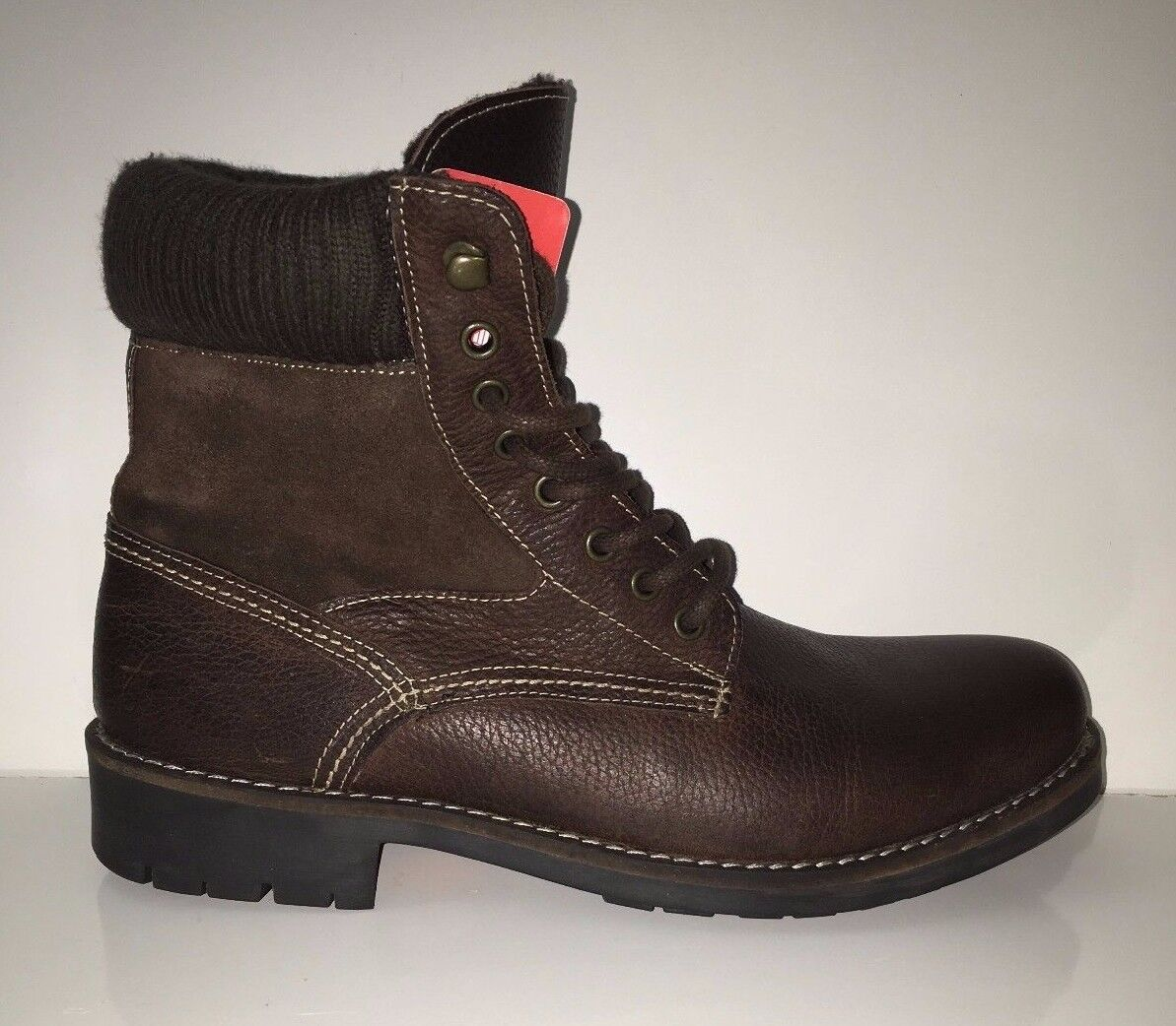 NEW  Red Tape Men's  Knitted Cuff  Plain Toe  Brown Leather Boots shoes Sz 9.5