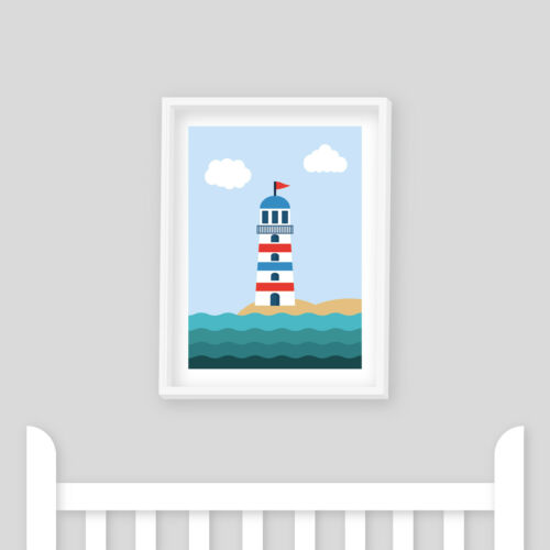 Boat Whale Set of 3 Seaside Prints Nautical Nursery Prints Lighthouse