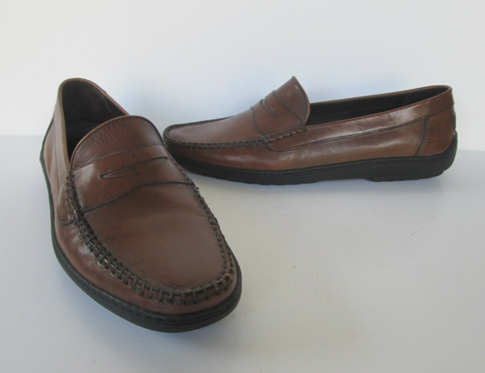 Bragano  Uomo Lovely Braun Leder Dress Moc Penny Loafers Casual Dress Leder Schuhes 9 M 57e703