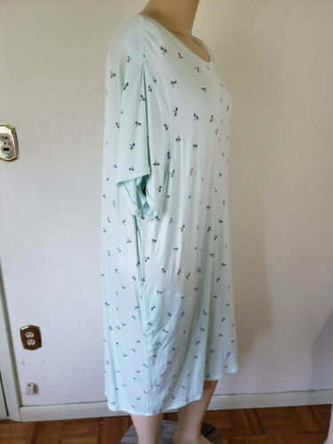 Womens S//S Short Nightgown Nightshirt Sonoma Green Dragonfly Rayon Knit NWT