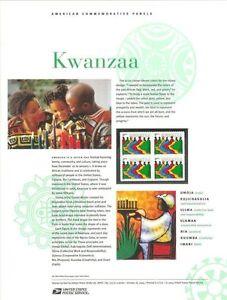 #725 37c Kwanzaa #3881 USPS Commemorative Stamp Panel