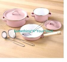 Metal Pots Pans Pink Kitchen Cookware Playset Kids with Cooking Utensils NB