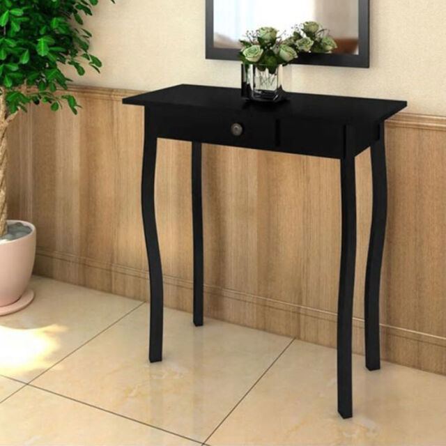 Cottage Style Console Table High Gloss Side End Hallway Table Drawer Furniture