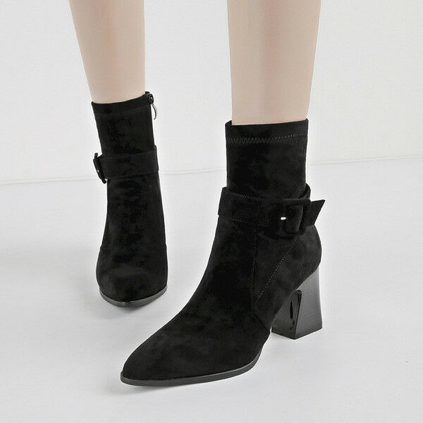 Stivali stivaletti  quadrato 8 cm black tronchetto eleganti simil pelle 1588