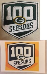 GREEN-BAY-PACKERS-100-SEASONS-PATCH-100th-SEASON-RODGERS-amp-STICKER-BEST-QUALITY