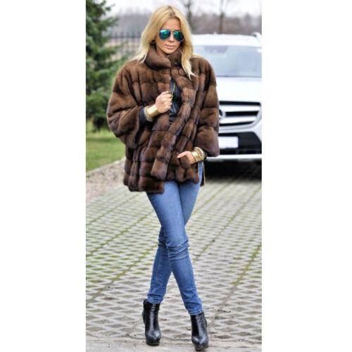 Women Natural Full Pelt Real Mink Fur Coat Jacket Outwear Overcoat Top Quality