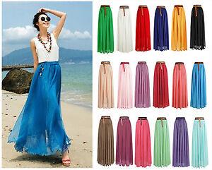 Women-Summer-Chiffon-Pleated-Retro-Maxi-Long-Maxi-Dress-Elastic-Waist-Bust-Skirt