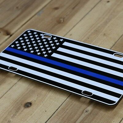 JASS GRAPHIX Thin Blue Line Subdued American Flag License Plate Matte Black on 1//8 Black Aluminum Composite Heavy Duty Tactical Patriot USA Car Tag