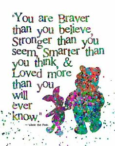 Details about Abstract Watercolor Splatter Silhouette Art Print Winnie the  Pooh & Piglet Quote