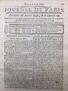 Rare Journal Révolution Française 1791 Journal de Paris Constitution Française