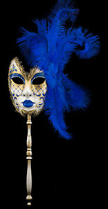 Maschera Di Venezia Per Bastone Piume Struzzo Blu Dark Carnival venitien-2227