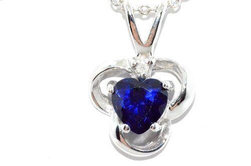 0.50 Ct Blue Sapphire 5mm Heart /& Diamond Pendant .925 Sterling Silver