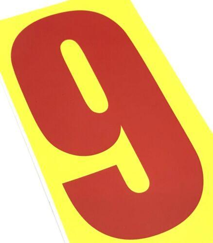 Lot de 4 rouge numéro de course 9 fond jauneHonda Kart