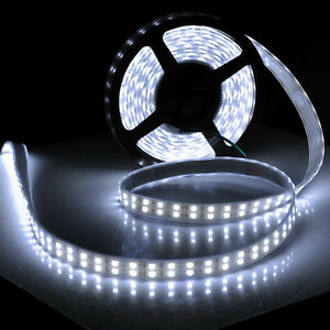 5M-16-4ft-12V-SMD-White-5050-IP67-Waterproof-600-LED-Double-Row-Tube-Strip-Light