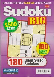 Details about Sudoku Big #60 NEW PUZZLE Magazine (Free 1st class post U K )