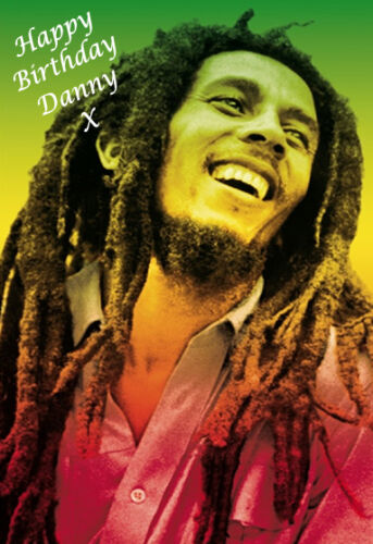 A5 SIZE! 1 BOB MARLEY Personalised Birthday Card ANY NAME.. COOL CARD!!!