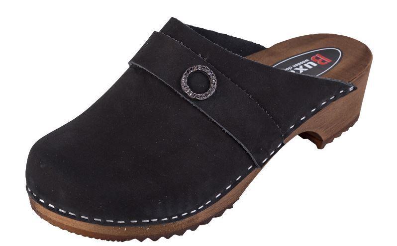 Color Negro Zuecos De Madera Nubuck nos PE1 tamaño del zapato de la mujer