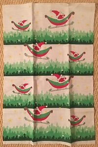 New Linas Lithuanian Santa in Sleigh Dish Towel Linen Blend