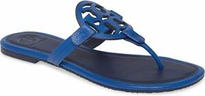 NIB-TORY-BURCH-Miller-Thong-Sandals-TUMBLED-LEATHER-NAUTICAL-BLUE-ROYAL-NAVY