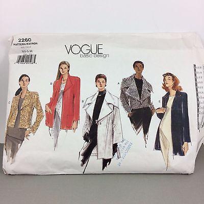 Easy Misses Jacket Vogue Pattern 2260 Uncut Variations Sz 6-14 Big Shawl Collar