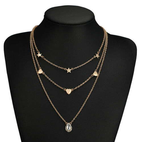 Multilayer Gold Chain Choker Heart Star Crystal Pendant Necklace Women Jewelry