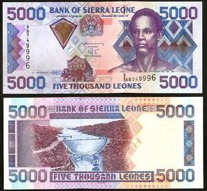 2003 P27b banknote UNC Sierra Leone 5000 Leones