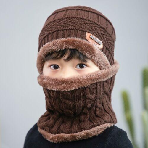 Children Boy Winter Knitted Beanie Hat and Scarf Set Kids Warm Balaclava Cap Ski