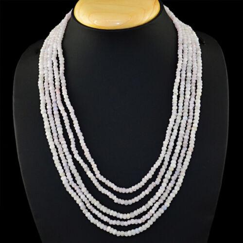 320.50 cts Natural 5 Strand Blanc pierre de lune forme ronde à facettes Perles Collier