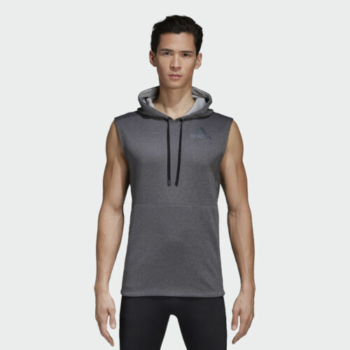 adidas Training Workout Sleeveless Hoodie Men Dark Grey Black Hoody CD7844