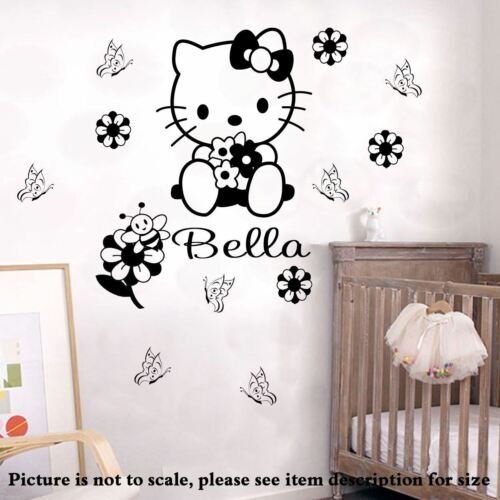 HELLO KITTY Wall Sticker personalized name vinyl Decals Nursery Mural Disney Art