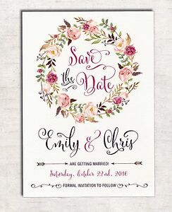 Details About Floral Save The Date Wedding Invitation Bohemian Flowers Boho Engagement Invite