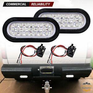 8pcs 6 Inch 24-LED Oval Truck Trailer RV Clear Lens White Backup Reverse Running Marker Tail Light 12V Flush Mount