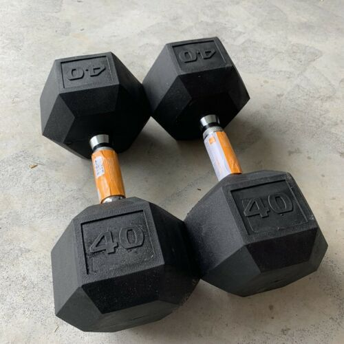 CAP Rubber Hex Dumbbell Set Pair of Two 40 lb Pound Weights