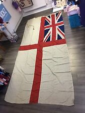 HUGE Original Antique Panel stitched British White Ensign Royal Navy Flag