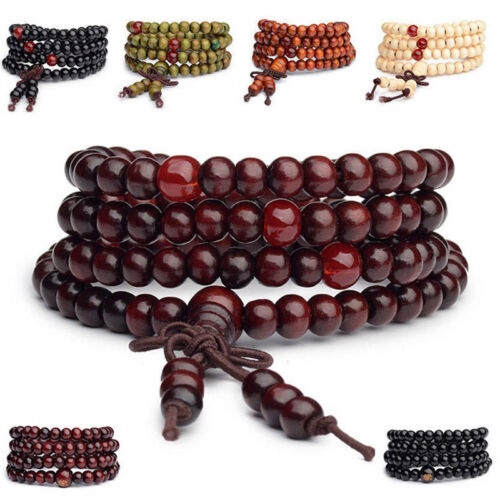 108 Beads 8mm Natural Sandalwood Buddhist Buddha Wood Prayer Bead Mala Bracelet