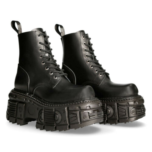 New Rock Boots M-MILI084N-S5 Unisex Metallic Black 100/%Leather Platform Military