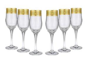 Crystal Gold Rimmed Champagne Flutes 'Medusa', Wine Glasses 6-pc Set Greek Key