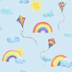 Over-The-Arc-En-Ciel-Volant-Cerfs-Volants-Papier-Peint-91022-Enfants-Chambre