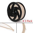 3Pcs 3D Printer Filament 1.75mm PLA 1kg For Drawing Print Pen MakerBot Wooden UE