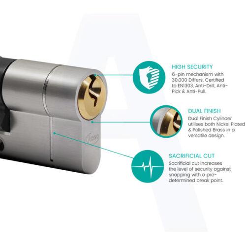 42//42T Thumb Turn Euro Cylindre Barillet Serrure de Porte Pour Upvc Portes Double Finition