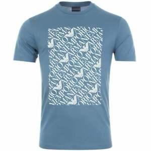 EMPORIO-ARMANI-COTONE-SCOLLO-TONDO-STAMPATO-AQUILA-LOGO-BLU-MARE-T-shirt
