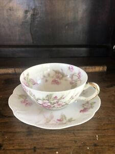 Haviland-Limoges-tea-cup-and-saucer-pink-flowers-And-Beaded