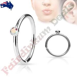 316L Surgical Steel Nose Ring Cut Hoop with Tiny Side Set Aqua CZ Gem
