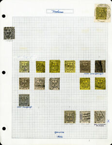 Modena-1852-Genuine-Stamp-Collection-of-17-Issues-in-Various-Colors-and-Values