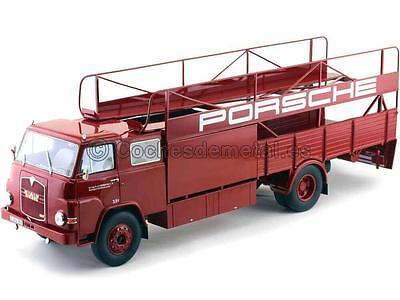 1:18 Porsche MAN 635 Renntransporter año 1965 Schuco 450008100 Rojo